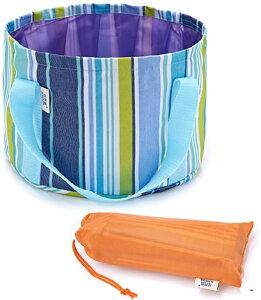 折りたたみ バケツ 12L 丸型 ポータブル コンパクト 収納バッグ付き アウトドア キャンプ 釣り 洗車に(ブルー)