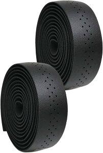 morytrade バーテープ ロードバイク グリップテープ クロスバイク 穴あき バーエンド(黒)
