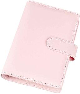システム手帳 6穴 カード ペン ビジネス カードポケット リフィル シンプル リング ピンク A6(ピンク, A6)