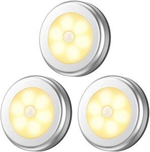ヘルスリーフ LED人感センサー ライト 電池式 LEDライト 3個セット 両面テープ付き 磁石付き 室内 ワイヤレス 小型(電球色)