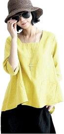 ニブンノイチスタイル 襟なし 大人 無地 綿麻 七分袖 とろみ シャツ ブラウス レディース 黄色,(イエロー, XL)