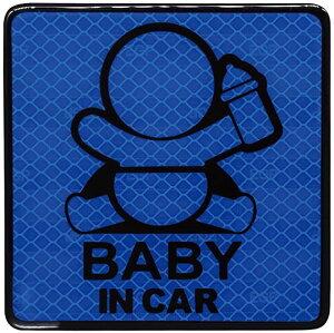 BABY IN CAR カーステッカー シールタイプ 夜間 高輝度 四角型 ブルー(四角型 ブルー)
