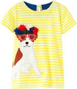 セウルブルー 手作り 刺繍 ヨーロッパデザイン ワンピース 2才〜10才 大きな ガールズ 子供服 ベビー 犬, cm(犬, 100)