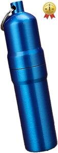 携帯 タバコケース ピルケース 防水ケース 薬ケース マッチ シガレットケース キーホルダー アルミ 02 ブルー, 5本仕様(02 ブルー, 5本仕様)