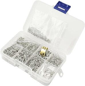 ハンドメイドパーツ 留め金具 マルカン ピアスフック 指カン つぶし玉 大容量 8種 約1630個 プラチナ