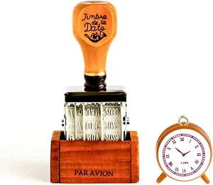 日付印 スタンプ アンティーク 雑貨 トラベラーズノート 手帳 ゴム印 スタンプ台 かわいい 時計スタンプ 付き(ブラウン)