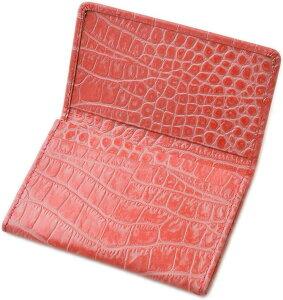 名刺入れ レディース 本革 シンプル 薄型 軽量 カードケース クロコ型押し レザー(ピンク)