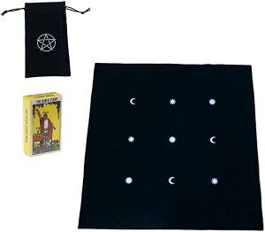 タロットカード ・ タロットクロス タロットカード収納 ポーチ 3点セット タロット占い ルーン占い 星占い 黒 月星(黒(月星))