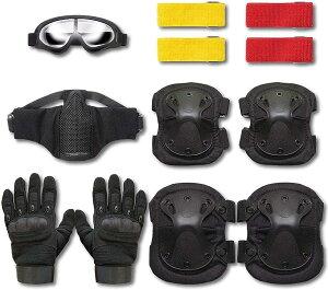 サバゲー 装備 セット サバイバルゲーム 6点セット マスク ゴーグル グローブ マーカー ニーパッド エルボーパッド 黒, MDM(黒, グローブL)