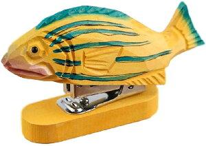 ホッチキス ホチキス 木製 木彫り 彫刻 ユニーク かわいい ハンディ ステープラー 動物 インテリア 雑貨(魚, 横9cm x 縦3cm x 高さ10cm)