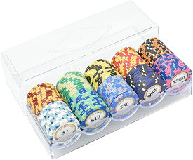 カジノチップ ポーカーチップ モンテカルロ 本格的 重量感 専用クリアケース付き 10種類 100枚セット