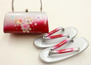 【♪期間限定セール♪】振袖用 草履バッグセット【新品】◆草履フリーサイズ(実寸約24.5)プレゼントにも♪シルバー×レッド系 桜