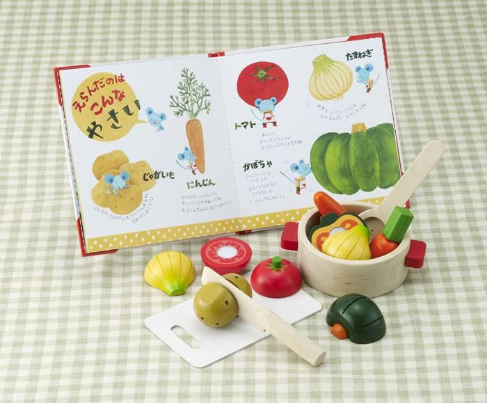 【送料無料!ポイント10倍!】えほんトイっしょ チーズくんのおいしいスープ 【木製玩具 知育玩具 ベビートイ 絵本 エドインター】