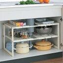 シンク下 収納 ラック キッチン 棚 シンク下 収納 ラック 伸縮タイプ シンク下 伸縮 収納棚 組立式 キッチン 収納 棚 …