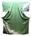 正絹付け下げきもの(A)超美品です渋めグリーンと裾ぼかし地に雪輪に牡丹と松と金彩模様送料無料しつけ糸がついています(中古)