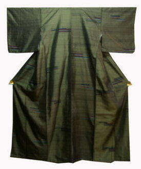 M. Silk weaving kimono NO31 dark-Glyn district next to stage modern pattern with rose kimono
