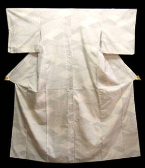 Focus saaya-ikat, Silk weaving kimono NO34 white off-white with tailored kimono rose