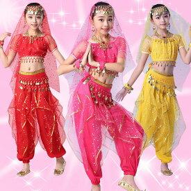 ベリーダンス衣装 インドダンス 子供 キッズ 上下セット 半袖 3色 M-XLサイズ 組み合わせ自由 舞台衣装(hy3311)