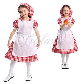 メイド服 アメリカン風 メイド 半袖 ワンピース かわいい 定番 子供 キッズ 女の子 ハロウィン XS-L コスプレ衣装(ps3687)