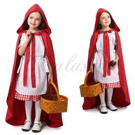 赤ずきんちゃん フード付きマント ワンピース メイド服 かわいい 子供用 キッズ 女の子 ハロウィン XS-L コスプレ衣装(ps3689)