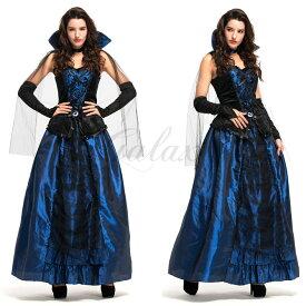 ハロウィン ヴァンパイア 吸血鬼 魔女 宮廷風 ヨーロッパ 礼服 ドレス 女王様 コスチューム コスプレ衣装 ps3457