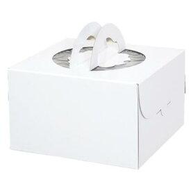 手提げデコホワイト(トレー付) 6寸ケーキ箱(1枚)ギフト箱 テイクアウト デコレーション クリスマス 誕生会