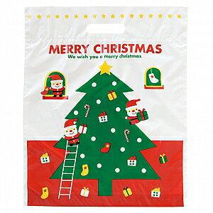 XMS-2 ミニサンタPEバック 大(10枚)OPP クリスマス ラッピング プレゼント 子供会 クリスマス会 手提げ袋 ビニール袋
