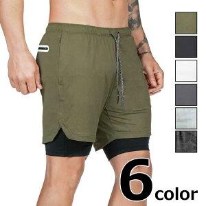 スポーツハーフパンツ 5分丈 メンズ 春夏 インナー付き ポケット タオルホルダー付き 全6色 M-3XL