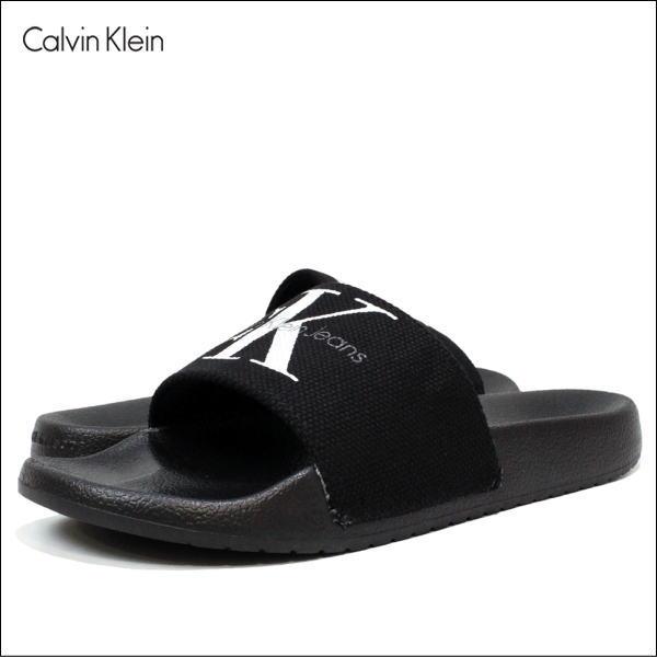 カルバンクライン サンダル Calvin Klein Jeans (カルバンクライン ジーンズ) レディース サンダル キャンバス CK ロゴ オフィス サンダル (BLACK) 34R9587 【あす楽対応】