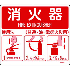 TR緑十字 消防標識 消火器使用法 215×250mm スタンド取付タイプ エンビ