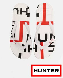 HUNTER/ハンター 【Women's/レディース】レディース オリジナル エクスプローディッド ロゴ フリップフロップ:ハンターホワイト Women's Original Exploded Logo Flip Flops: Hunter White ビーチサンダル フリップフロップ 軽い WFD1058EXL-HWT 国内正規品