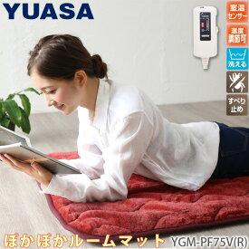 1畳ホットマット プレミアムフェイクファー YGM-PF75V(R) レッド ホットカーペット/1人用 ぽかぽかルームマット ごろ寝マットにおすすめ ユアサ/YUASA