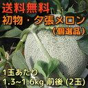 【送料無料】初物・夕張メロン(個選品)1玉あたり1.3〜1.6kg前後(2玉)