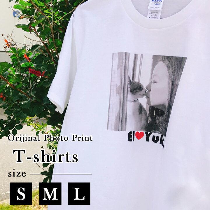 オーダーメイド 撮った写真をそのままプリント 5.6オンス半袖Tシャツ(S/M/L)(洋) 名入れ プレゼント 日本製 【送料無料】 母の日 2019 母親 新生活 卒業祝い 記念 退職祝い お礼