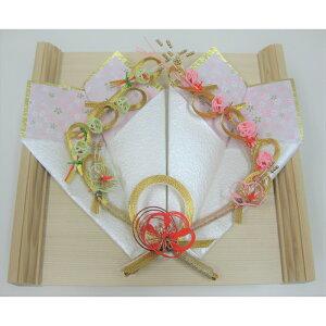 結納 略式 プラチナ指輪飾り 白木平台 指輪台セット  和風リングピロ? 和 和風 リングピロ?
