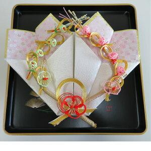結納 略式 プラチナ指輪飾り 黒塗盆 指輪台セット 和風リングピロ? 和 和風 リングピロ?