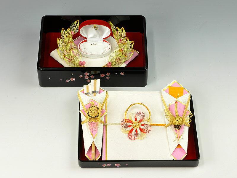 結納 -指輪メインの結納品-たまてばこ桜指輪アレンジセット3【目録・のし・末広付】