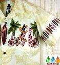 アロハシャツ メンズPalmwaveベージュ地サーフボード柄アロハシャツ新品・未使用【大きいサイズ有】ハワイ仕入薄黄ク…