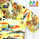 メンズアロハシャツ/レモンイエロー・オールドハワイアン柄◆ビンテージデザイン◆黄色/オレンジPalmwave【ハワイアン…