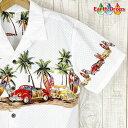 アロハシャツ メンズ Palmwaveホワイト地/クラシックカー・ロングボード柄メンズ総柄半袖シャツ/白ハワイ仕入/カーシ…
