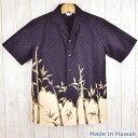 アロハシャツ ハワイ製 メンズ Winnie Fashion 黒紫地 竹柄 和柄ウィニーファッションハワイアンシャツ 大きいサイズ…