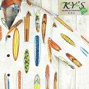 【ポイントアップ祭】アロハシャツ メンズ ハワイ製【KY'S】ビンテージサーフボード柄/ホワイトコットン100%/希少ブラ…