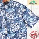 アロハシャツ メンズ パラダイスベイ Paradise Bayレイニーブルー/リーフ・フラワー葉柄・裏生地ハワイ製/新品希少ブ…