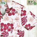 アロハシャツ メンズ ハワイ製【KY'S】テンダーピンク/ディープレッドハイビスカスコットン100%赤・桃色/葉・花柄