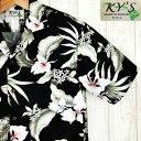 アロハシャツ ハワイ製 メンズ【KY'S】シックブラック/モスグリーンリーフコットン100%黒・葉白花柄【基本メール便発…