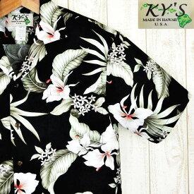 アロハシャツ ハワイ製 メンズ【KY'S】シックブラック/モスグリーンリーフコットン100%黒・葉白花柄【基本メール便発送】(代引除く)
