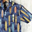 アロハシャツ メンズ ハワイ製【KY'S】ビンテージサーフボード柄/ネイビーブルーコットン100%/希少ブランド青/ダークブルー/リーフ柄・サーファーロングボードデザイン