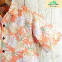 アロハシャツ メンズ ハワイ製オレンジ・モンステラ柄/立ち襟/コットンパラダイスベイ Paradise Bayクールビス/半袖シ…