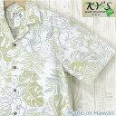アロハシャツ ハワイ製 メンズ【KY'S】リーフ&フラワー・裏生地白緑・開襟・コットンギフト・プレゼント/結婚式・参…
