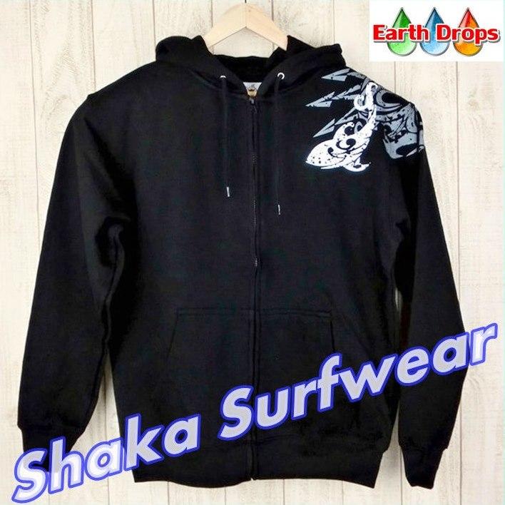 【メンズジップアップパーカー/Shaka surfwear/黒/片肩】HAWAIIブラック【トライバル柄パーカー】メンズパーカー/サーフウェアー・ハワイ仕入れ黒/大きなサイズ有